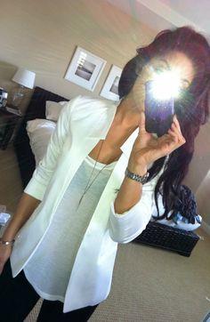 white blazer, white t, black skinnies and that hair colour.