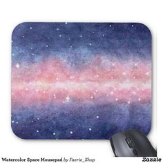 Watercolor Space Mousepad #faerieshop #watercolour #watercolor #space #galaxy #universe #stars #painting #cosmos #purple #night #zazzle #present #gift #idea