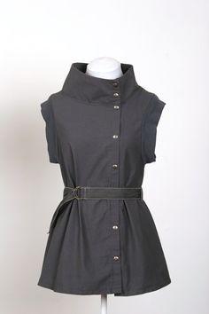 grey cotton mod mini dress