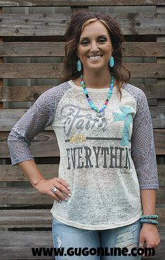 Faith Above Everything Baseball Tee with Grey Crochet Sleeves $28.95 Small-2XL www.gugonline.com