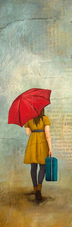 Print of Original Painting by Kendra Baird Runnels - Woman walking in the rain with suitcase and umbrella