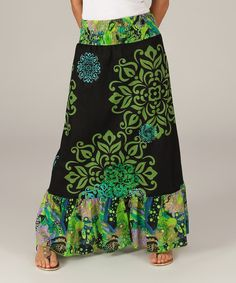 Look at this Black & Green Floral Medallion Maxi Skirt on #zulily today!