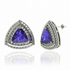 Tanzanite Earring – Buy 8x8MM size Tanzanite Earring in Trillion Tanzanite with Round Diamond in 14K White Gold ✿ ☺  ✿  ☂