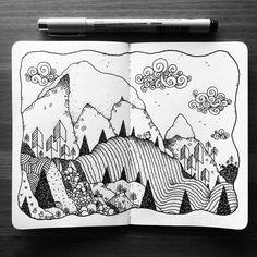 Drawing Doodles Sketchbooks Dave Garbot — It's This Way… (at. Sketchbook Drawings, Doodle Drawings, Sketches, Mountain Drawing, Mountain Sketch, Ink Pen Art, Doodle Art Designs, Tangle Art, Sketchbook Inspiration
