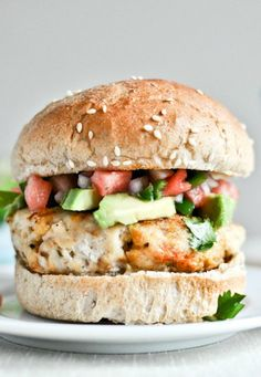 Healthy Tilapia Burgers with Watermelon Salsa + Avocado I howsweeteats.com