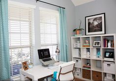 Gray and turquoise office.