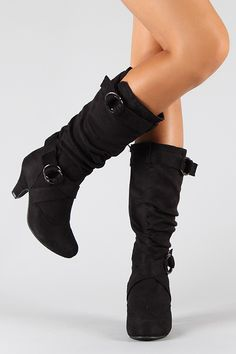 "Auto-1 Strapped Slouchy Knee High Boot. $27.70! I like the ""low chunky heel"""