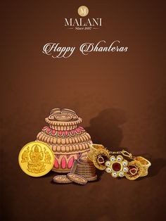 We wish that this auspicious day brings you good luck and good fortune. #HappyDhanteras. #MalaniJewelers Jewelry Ads, Jewellery, Happy Dhanteras, Good Fortune, Good Luck, Festivals, Template, Symbols, Social Media