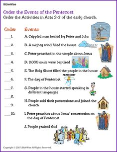 Order the Events of the Pentecost (Game) - Kids Korner - BibleWise. In sheet protectors, taped close. Include dry erase markers.