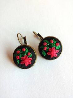 Embroidered Flower Earrings Unique Earrings for by RedWorkStitches
