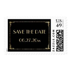 Save The Date Gold Foil Art Deco Wedding Stamps