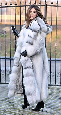 2017 ARCTIC ROYAL FOX LONG FUR COAT HOOD CLASS CHINCHILLA SABLE MINK LYNX SILVER