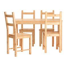 IKEA - INGO / IVAR, Stół i 4 krzesła, Lita sosna; naturalny materiał, który pięknieje z wiekiem.