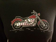 Cactus Bay t shirt LARGE black motorcycle rhinestones sequins bling #CactusBay #KnitTop #Casual