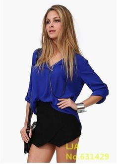 Newest Women Chiffon Blouse V-neck Long Sleeve Casual Women Tops Temperament Solid Shirts