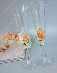 Свадебные бокалы Персиковое вдохновение