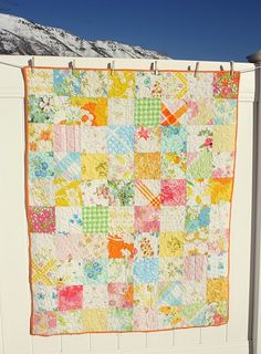 baby quilt made from vintage sheets - what an awesome idea. I'm going to have to start hitting up the thrift stores in my area.