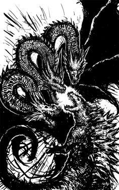 King Ghidorah vs Godzilla: Clash of Kings_by Abelardo on DeviantArt All Godzilla Monsters, Godzilla Comics, Cool Monsters, Classic Monsters, Godzilla Wallpaper, Pelo Anime, Monster Art, King Kong, Creatures