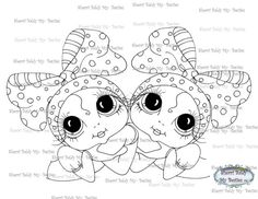 SOFORTIGEN DOWNLOAD digitale Digi Briefmarken großes Auge großer Kopf Puppen Digi My - Friends Zwillinge von Sherri Baldy