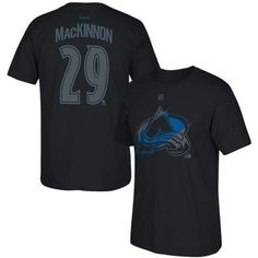 d32f22945c09 Mens Colorado Avalanche Nathan MacKinnon Reebok Black Exclusive Cross Check  Collection N N T-Shirt