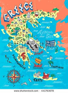 Illustrated Map of Greece. Travels - buy this vector on Shutterstock & find other images. : Illustrated Map of Greece. Travels - buy this vector on Shutterstock & find other images. Travel Maps, New Travel, Places To Travel, Greece Map, Greece Travel, Crete Greece, Kids Travel Journal, Mein Land, Creta