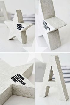 cement star and letters by sinnenrausch (Diy Manualidades Regalos) Concrete Crafts, Concrete Art, Concrete Projects, Concrete Design, Diy Home Crafts, Fun Crafts, Concrete Furniture, Ideias Diy, Diy Blog
