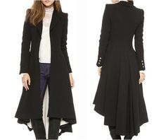 Goth/Steampunk Victorian Military Buton Black Trench Coat/Jacket.  I LOVE this!