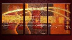 100% Hand Painted Oil Painting 3 Piece Canvas Art Large Wall Art Group Painting Abstract Painting Modern Art Free Shipping Stretched and Ready to Hang by GalleryPainting, http://www.amazon.com/dp/B00B65TE2S/ref=cm_sw_r_pi_dp_Zmb9rb00B5CJW