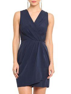 Buy Msmb solid navy blue draped polyester dress Online, , LimeRoad