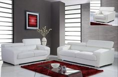 Global Furniture - 2 Piece Full Leather Sofa Set in White - 3 Piece Living Room Set, Leather Living Room Set, Leather Sofa Set, Leather Loveseat, Living Room Sets, White Leather, Classic Furniture, New Furniture, Living Room Furniture