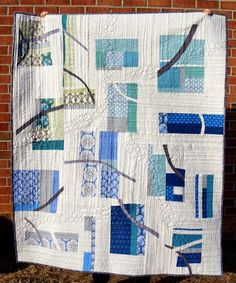 Quilty Habit: Pebble Cascade: A Finished Quilt. Love the quilting.