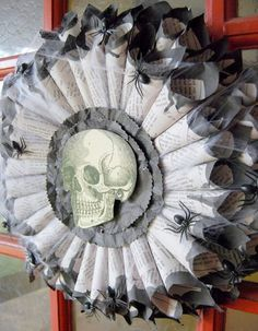 Book page wreath for halloween