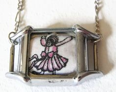 """Candy Girl: Liberty of London Grayson Perry """"Flo"""" fabric silver plated pendant by ohyouhandsomedevil on Etsy"""