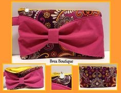 "Bow wristlet by Brea Boutique. Made with Vera Bradley ""Safari Sunset"" fabric."