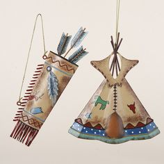 American Indian Teepee and Quiver Ornaments Metal Hand Painted Christmas New | eBay