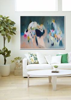 """large green ABSTRACT GICLÉE PRINT of Painting with light blue and pink """"Shimmer…"""
