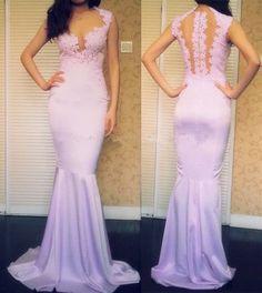 The charming lavender prom dress custom Fine decals,Elegant Dresses mermaid cocktail dress, Floor length Formal 2015 Evening dress