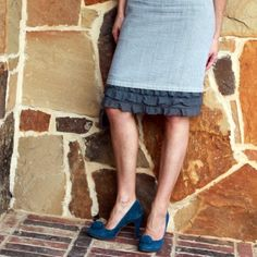 Three Tiered Ruffle Slip Extender -- great idea for those skirts that are a wee bit short.