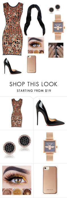 """Night out"" by zhanaewoods on Polyvore featuring Hervé Léger, Christian Louboutin, Olivia Burton and Karen Millen"