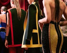 Backless crystal dress and wet look hair backstage at Balmain SS15 PFW. More images here: http://www.dazeddigital.com/fashion/article/21821/1/balmain-ss15-live-stream