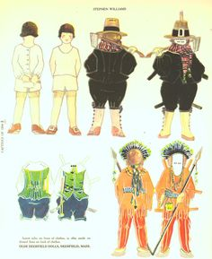 Stephen Williams, son of the Rev John Williams:  Little Captives of 1704, 2 of 6. This paper doll series depicts children taken as hostages when the village of Deerfield, Mass, was caught in Indian/French military fighting.