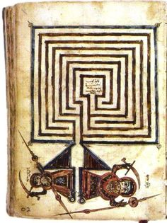 Medieval Syriac manuscript showing the Jericho labyrinth, Library of Beirut, Lebanon Medieval Manuscript, Medieval Art, Illuminated Manuscript, Mandala, Labyrinth Maze, Labyrinth Garden, Ancient Civilizations, Ancient Art, Sacred Geometry