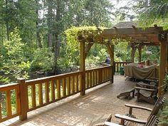 pergola deck and sitting area #countryliving #dreamporch