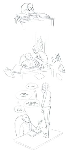 "Solas & Lavellan: ""Hey Solas!"" ""Vallani, what are you doing?!"" ""Oh you know, just thought I'd drop by."" "". . . Get off my desk."""