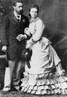 Prince Alfred (Alfred Ernest Albert ) (1844-1900) Duke of Edinburgh, UK & Duke of Saxe-Coburg & Gotha, Germany & wife Marie Alexandrovna (1853–1920) Russia. They married 23 January 1874.