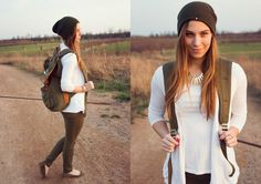 my little trip outfit - wearing my boyfriend's khaki backpack, h&m khaki flats, khaki beanie and white top