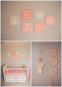 awesome pink/grey anchor nautical mermaid nursery.   Planning on a nautical nursery when I have a baby girl.