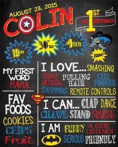 Superhero Theme First Birthday Chalkboard - Totally Customizable!