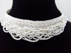 Bridal Necklace White Crystal Necklace Beaded by DesignByIrenne