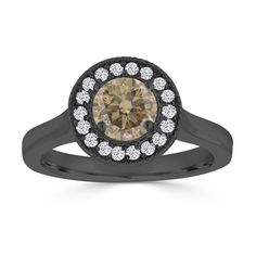 Dazzling Fancy Champage Brown And White Diamonds Engagement Ring Halo Pave